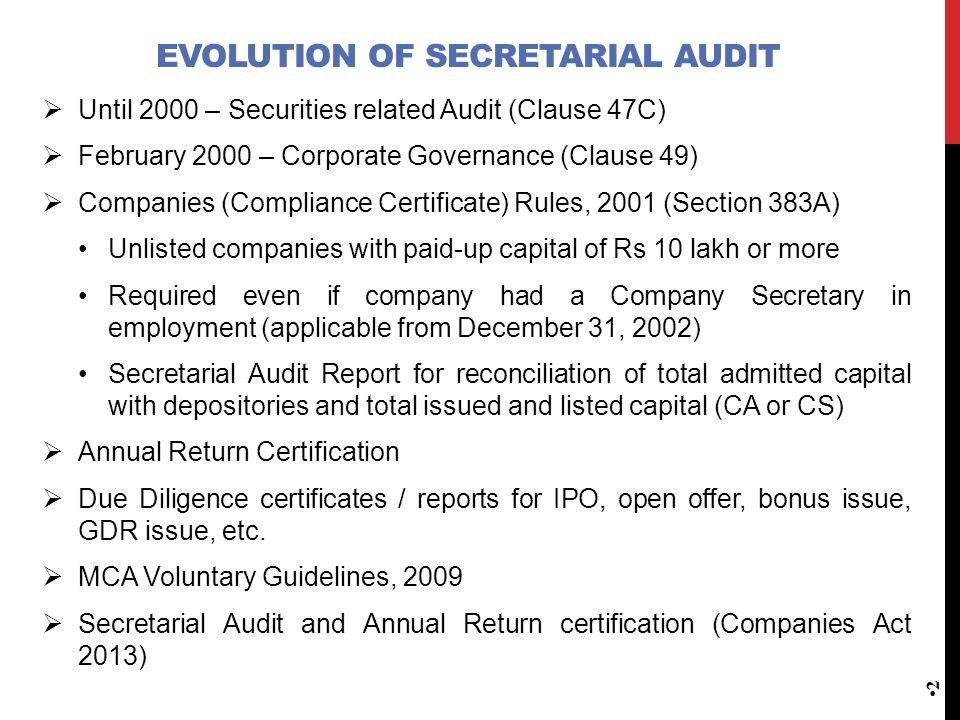 Presentation On Secretarial Audit Companies Act 2013 K