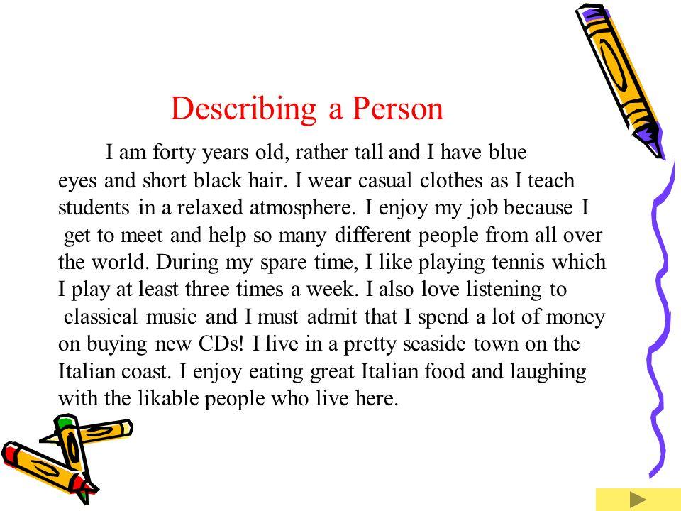 paragraph to describe a person