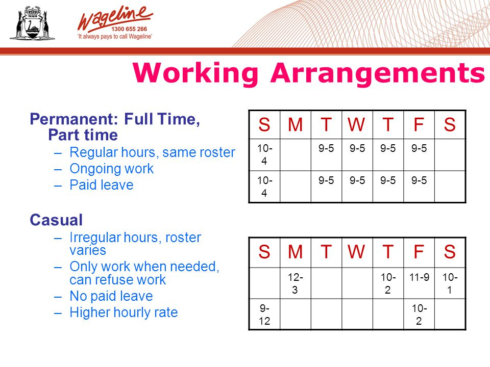 Working Arrangements Permanent: Full Time, Part time –Regular hours, same roster –Ongoing work –Paid leave Casual –Irregular hours, roster varies –Only work when needed, can refuse work –No paid leave –Higher hourly rate SMTWTFS SMTWTFS