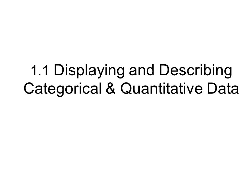 1.1 Displaying and Describing Categorical & Quantitative Data