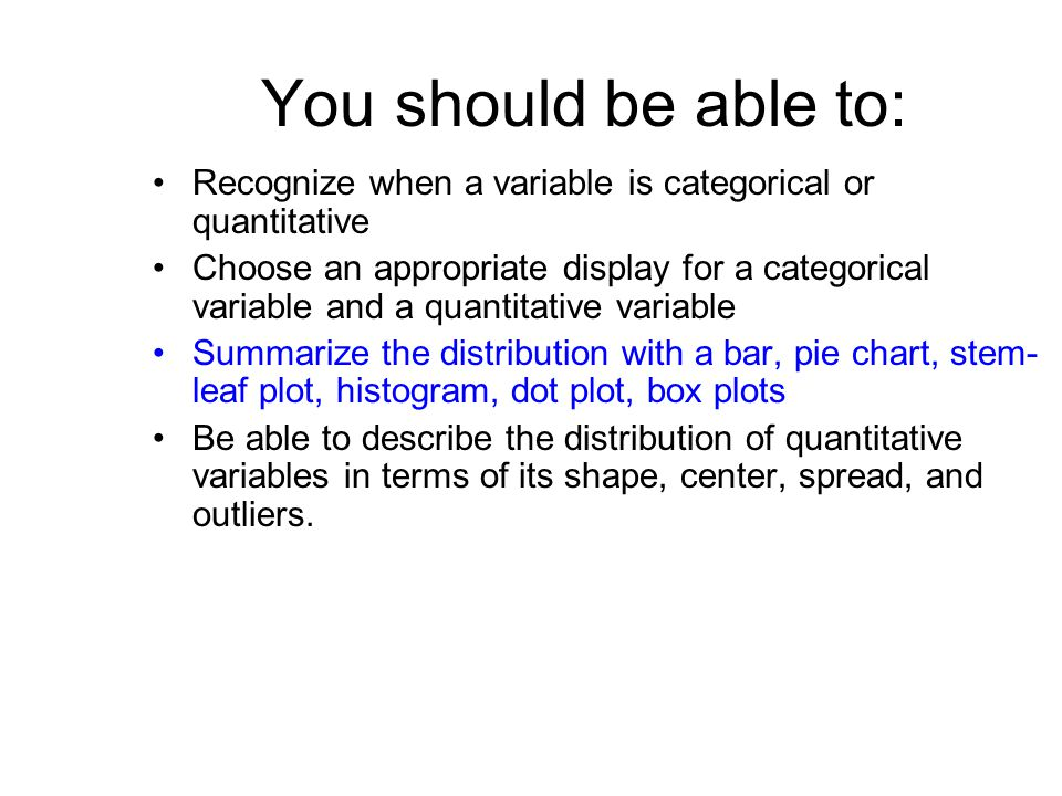 You should be able to: Recognize when a variable is categorical or quantitative Choose an appropriate display for a categorical variable and a quantitative variable Summarize the distribution with a bar, pie chart, stem- leaf plot, histogram, dot plot, box plots Be able to describe the distribution of quantitative variables in terms of its shape, center, spread, and outliers.