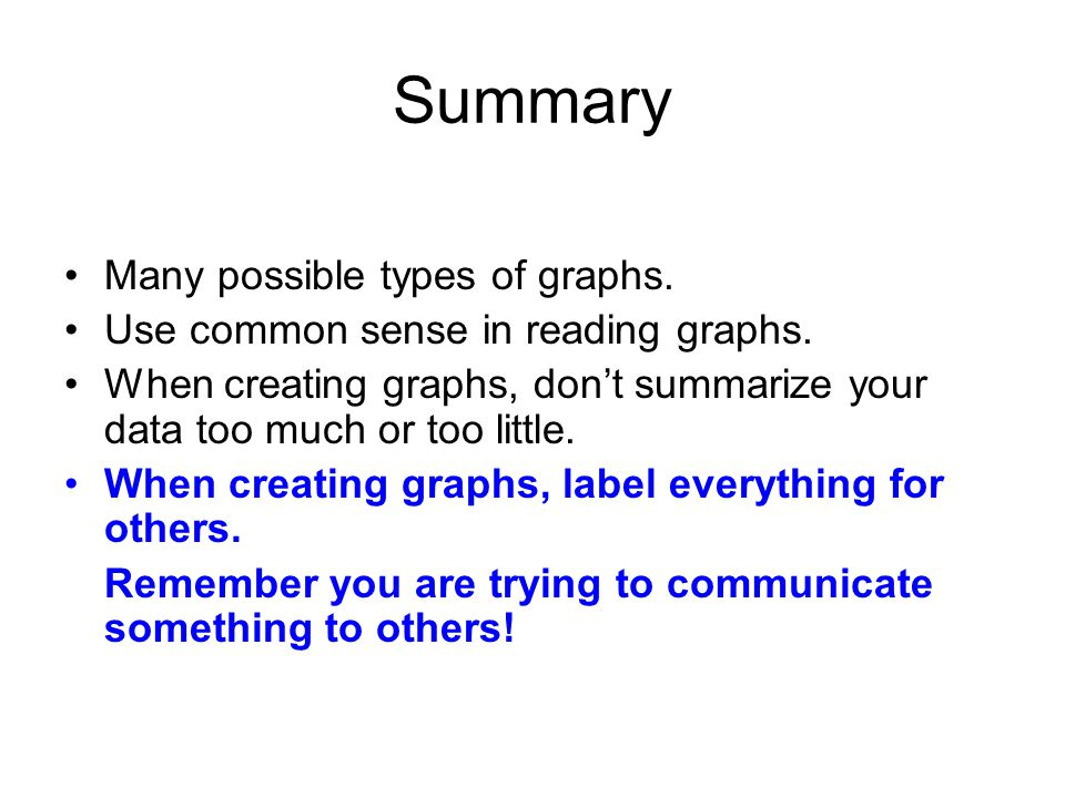 Summary Many possible types of graphs. Use common sense in reading graphs.