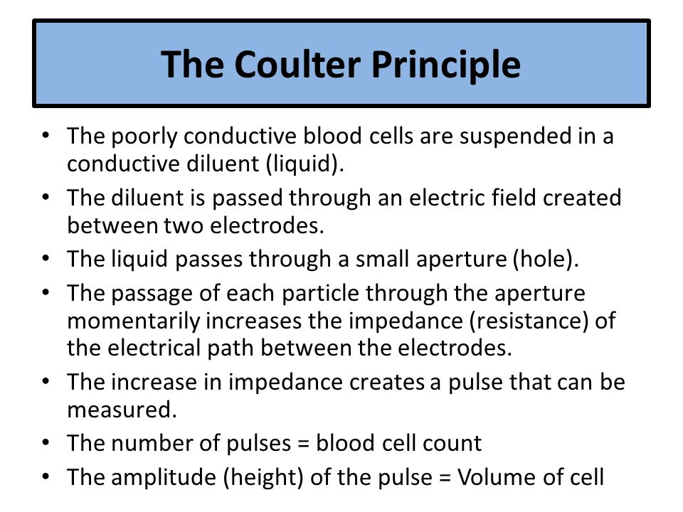 The Coulter Principle The poorly conductive blood cells are suspended in a conductive diluent (liquid).