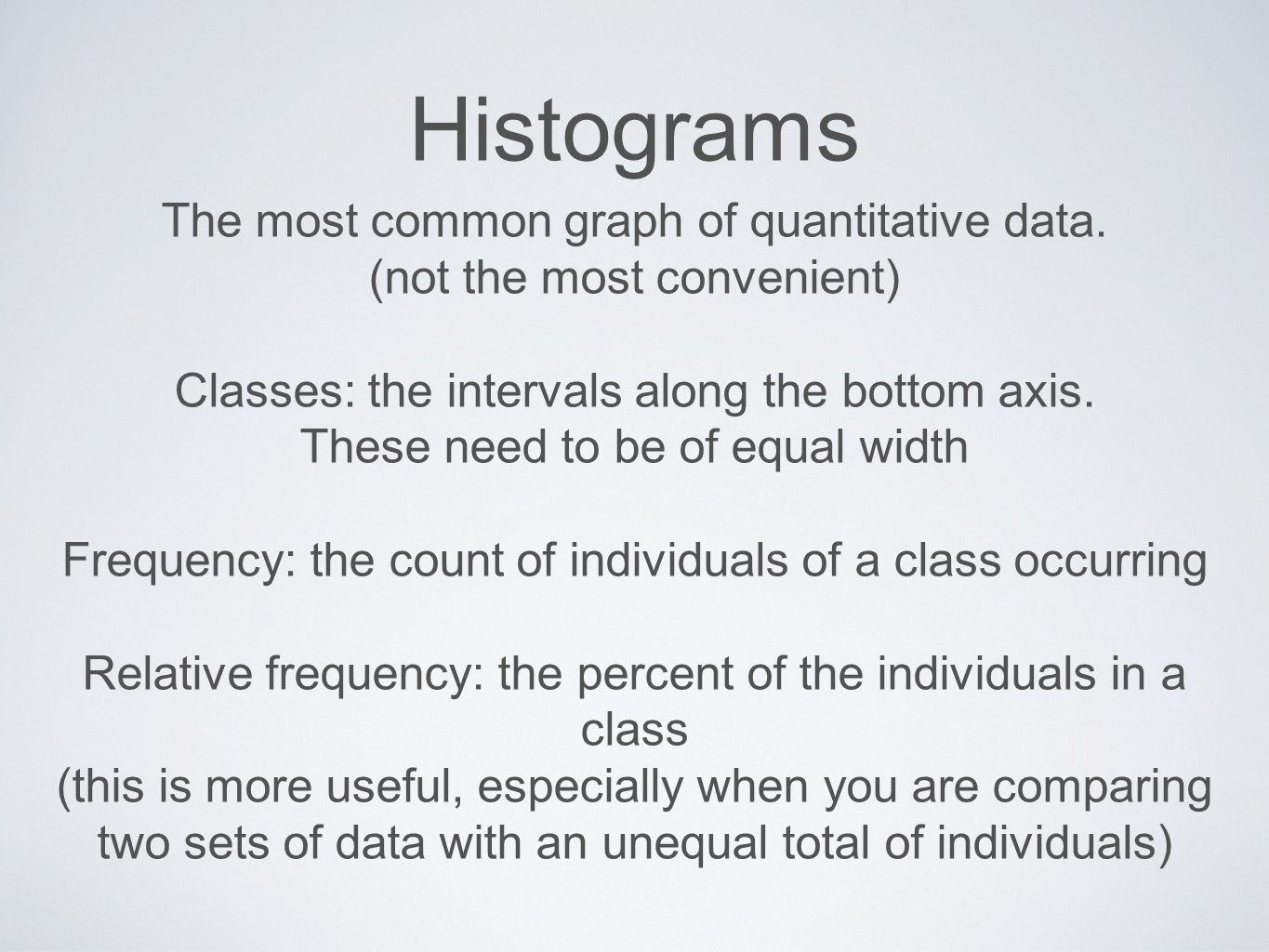 Histograms The most common graph of quantitative data.