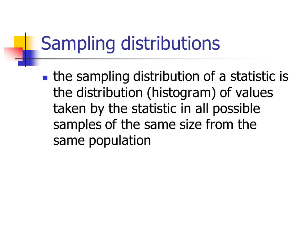 Sampling distributions the sampling distribution of a statistic is the distribution (histogram) of values taken by the statistic in all possible samples of the same size from the same population