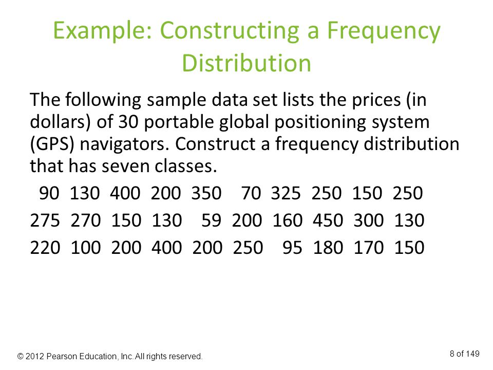 Example: Constructing a Frequency Distribution The following sample data set lists the prices (in dollars) of 30 portable global positioning system (GPS) navigators.