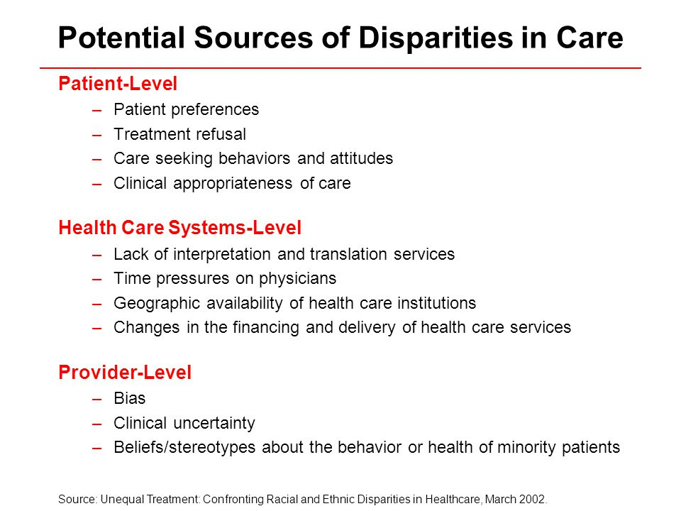 Potential Sources of Disparities in Care Patient-Level –Patient preferences –Treatment refusal –Care seeking behaviors and attitudes –Clinical appropriateness of care Health Care Systems-Level –Lack of interpretation and translation services –Time pressures on physicians –Geographic availability of health care institutions –Changes in the financing and delivery of health care services Provider-Level –Bias –Clinical uncertainty –Beliefs/stereotypes about the behavior or health of minority patients Source: Unequal Treatment: Confronting Racial and Ethnic Disparities in Healthcare, March 2002.