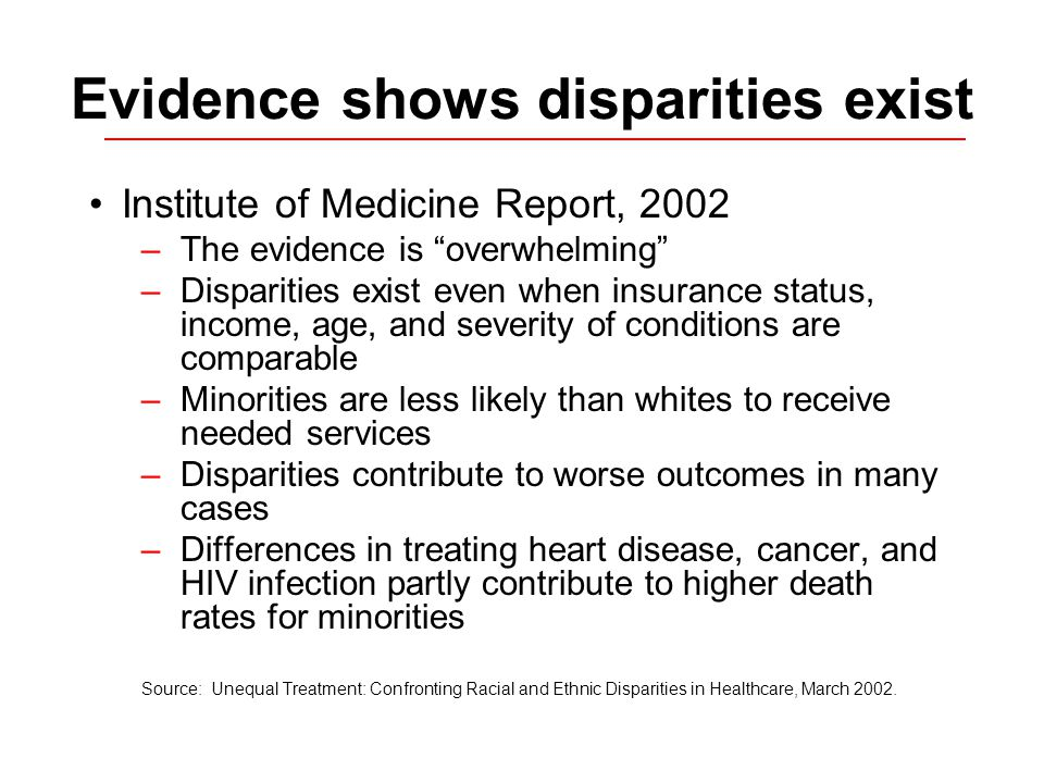 Evidence shows disparities exist Institute of Medicine Report, 2002 –The evidence is overwhelming –Disparities exist even when insurance status, income, age, and severity of conditions are comparable –Minorities are less likely than whites to receive needed services –Disparities contribute to worse outcomes in many cases –Differences in treating heart disease, cancer, and HIV infection partly contribute to higher death rates for minorities Source: Unequal Treatment: Confronting Racial and Ethnic Disparities in Healthcare, March 2002.