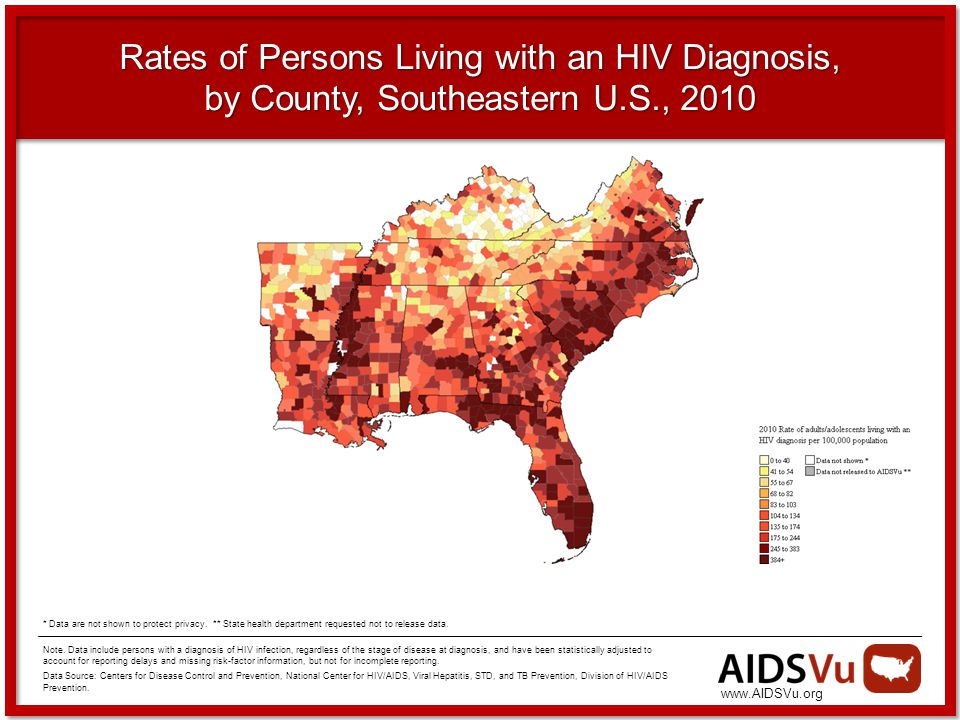 Rates of Persons Living with an HIV Diagnosis, by County, Southeastern U.S., 2010 Note.