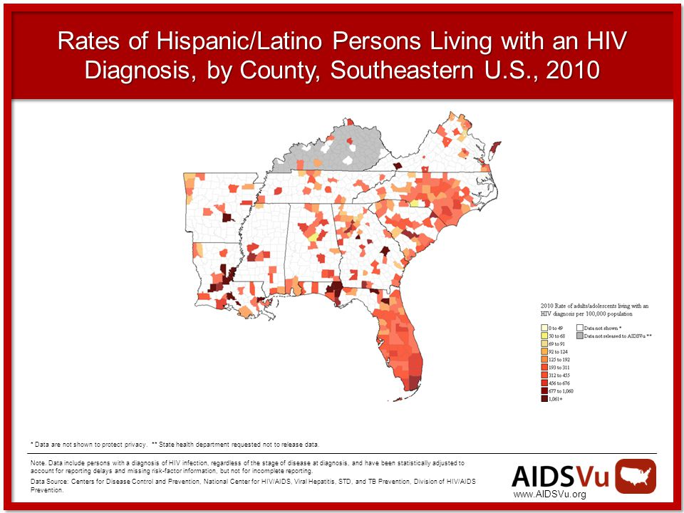 Rates of Hispanic/Latino Persons Living with an HIV Diagnosis, by County, Southeastern U.S., 2010 Note.