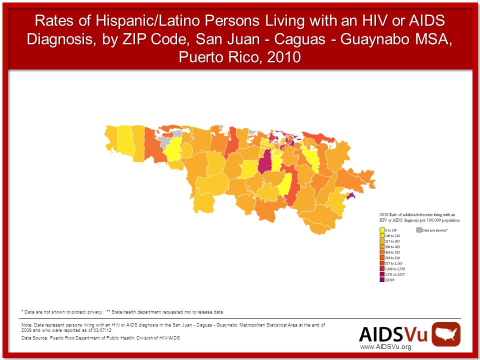 Rates of Hispanic/Latino Persons Living with an HIV or AIDS Diagnosis, by ZIP Code, San Juan - Caguas - Guaynabo MSA, Puerto Rico, 2010 Note.