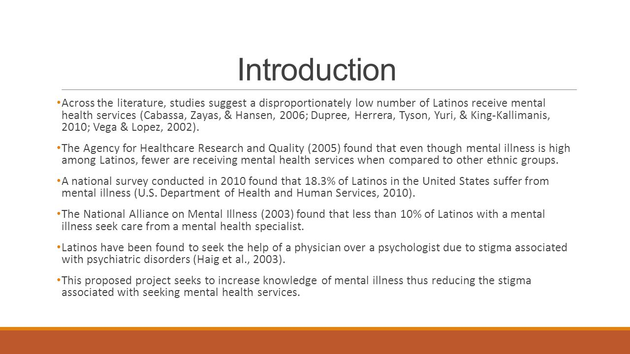 MENTAL HEALTH OUTREACH PROGRAM FOR LATINOS: A GRANT PROPOSAL By