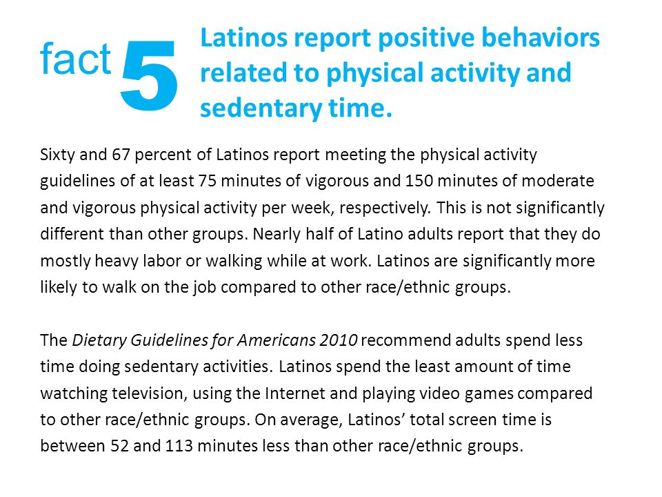 Latinos report positive behaviors related to physical activity and sedentary time.