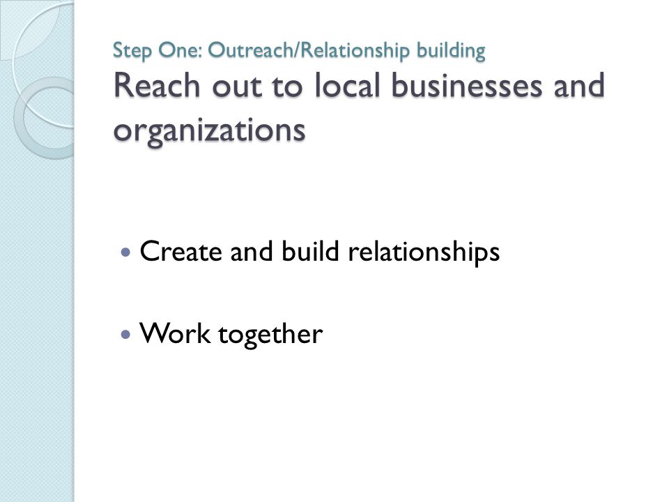 Step One: Outreach/Relationship building Reach out to local businesses and organizations Create and build relationships Work together