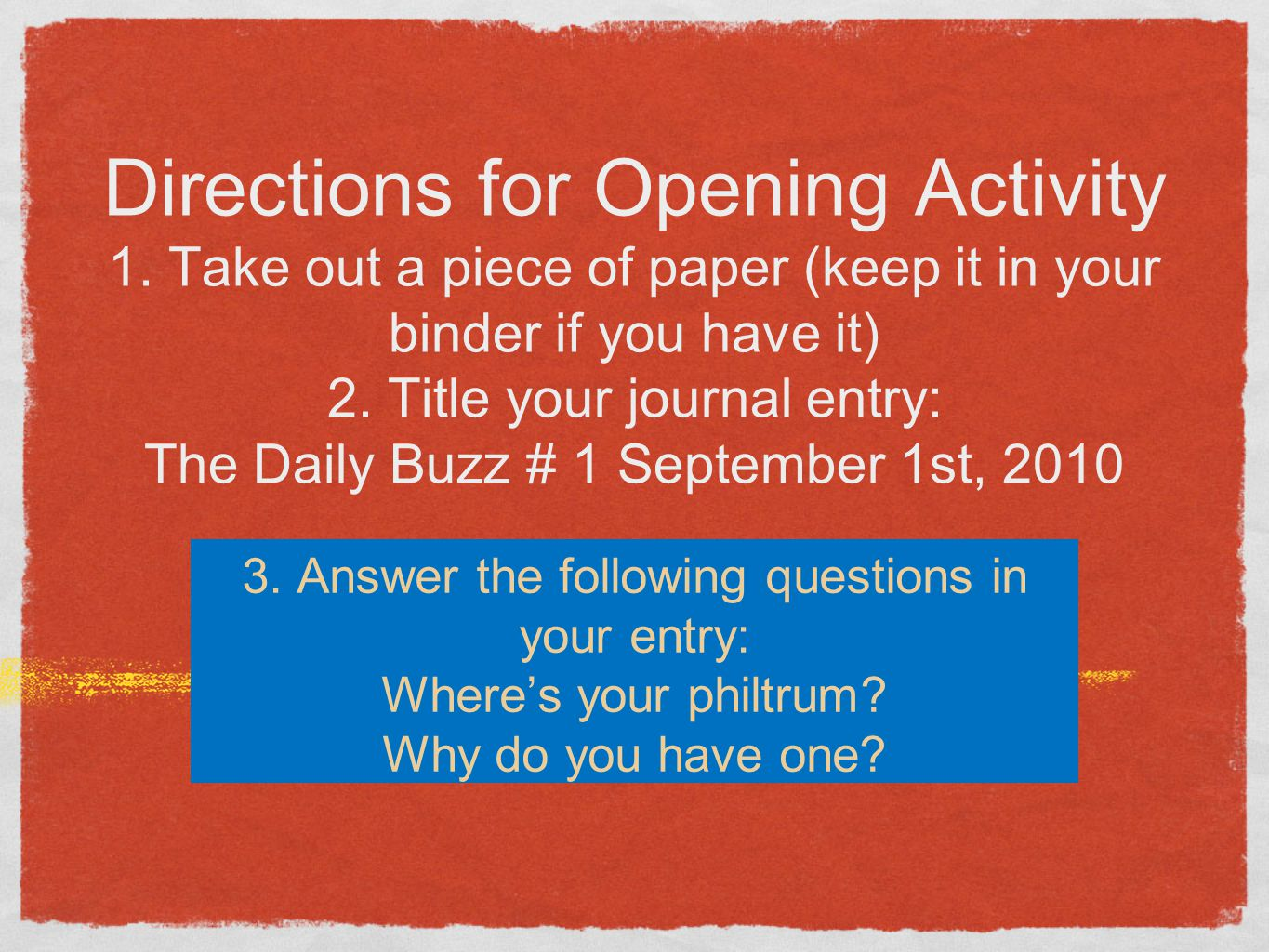 Directions for Opening Activity 1.