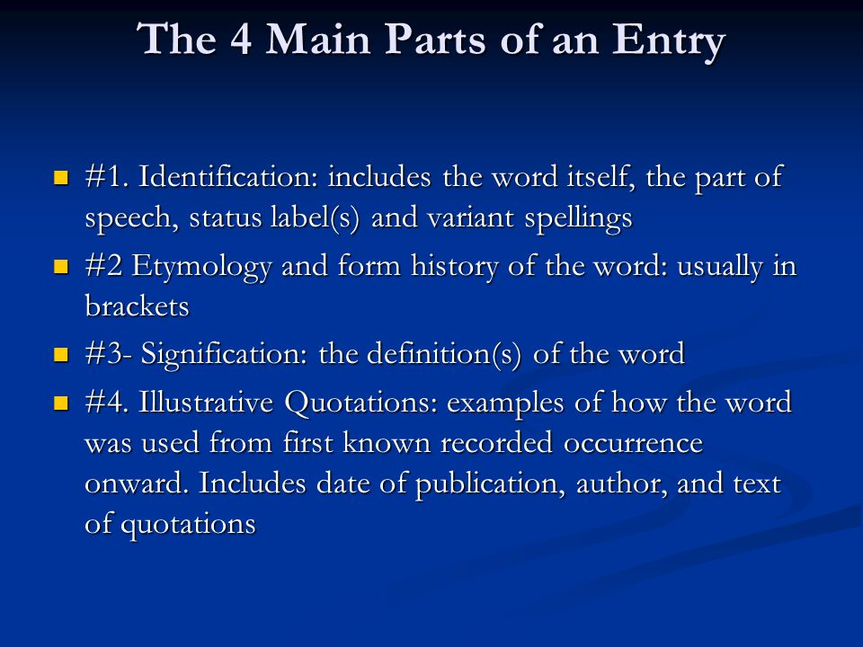 The 4 Main Parts of an Entry #1.