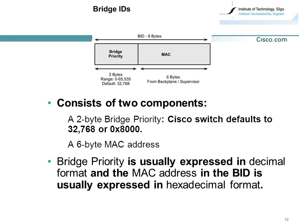 12 Consists of two components: A 2-byte Bridge Priority: Cisco switch defaults to 32,768 or 0x8000.