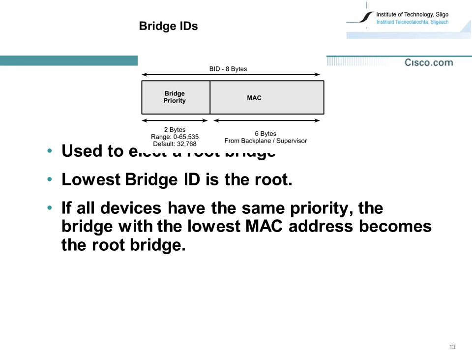 13 Used to elect a root bridge Lowest Bridge ID is the root.
