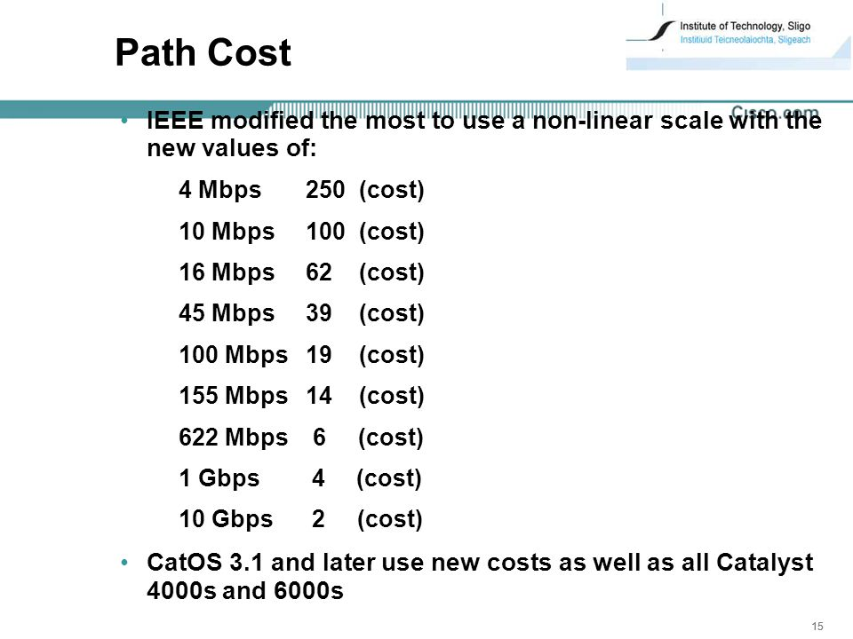15 Path Cost IEEE modified the most to use a non-linear scale with the new values of: 4 Mbps 250 (cost) 10 Mbps 100 (cost) 16 Mbps 62 (cost) 45 Mbps 39 (cost) 100 Mbps 19 (cost) 155 Mbps 14 (cost) 622 Mbps 6 (cost) 1 Gbps 4 (cost) 10 Gbps 2 (cost) CatOS 3.1 and later use new costs as well as all Catalyst 4000s and 6000s