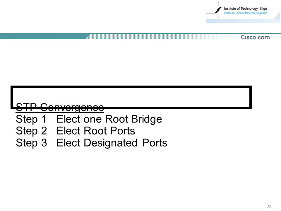 20 STP Convergence Step 1 Elect one Root Bridge Step 2 Elect Root Ports Step 3 Elect Designated Ports