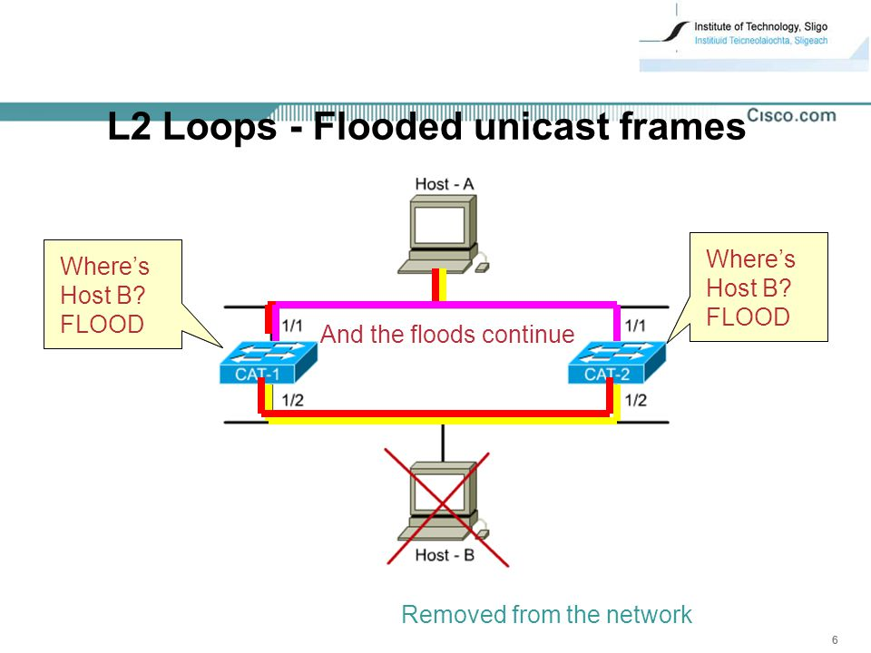 666 L2 Loops - Flooded unicast frames Where's Host B.