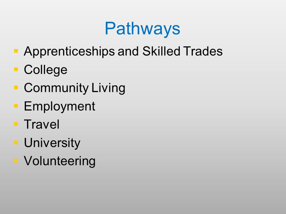 Pathways   Apprenticeships and Skilled Trades   College   Community Living   Employment   Travel   University   Volunteering