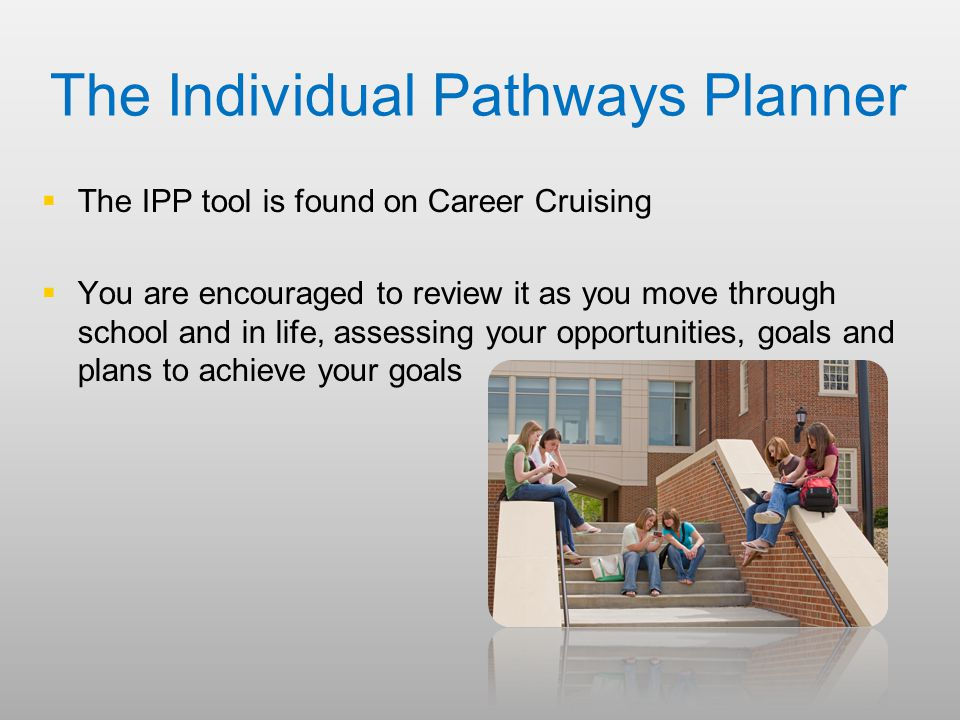 The Individual Pathways Planner   The IPP tool is found on Career Cruising   You are encouraged to review it as you move through school and in life, assessing your opportunities, goals and plans to achieve your goals