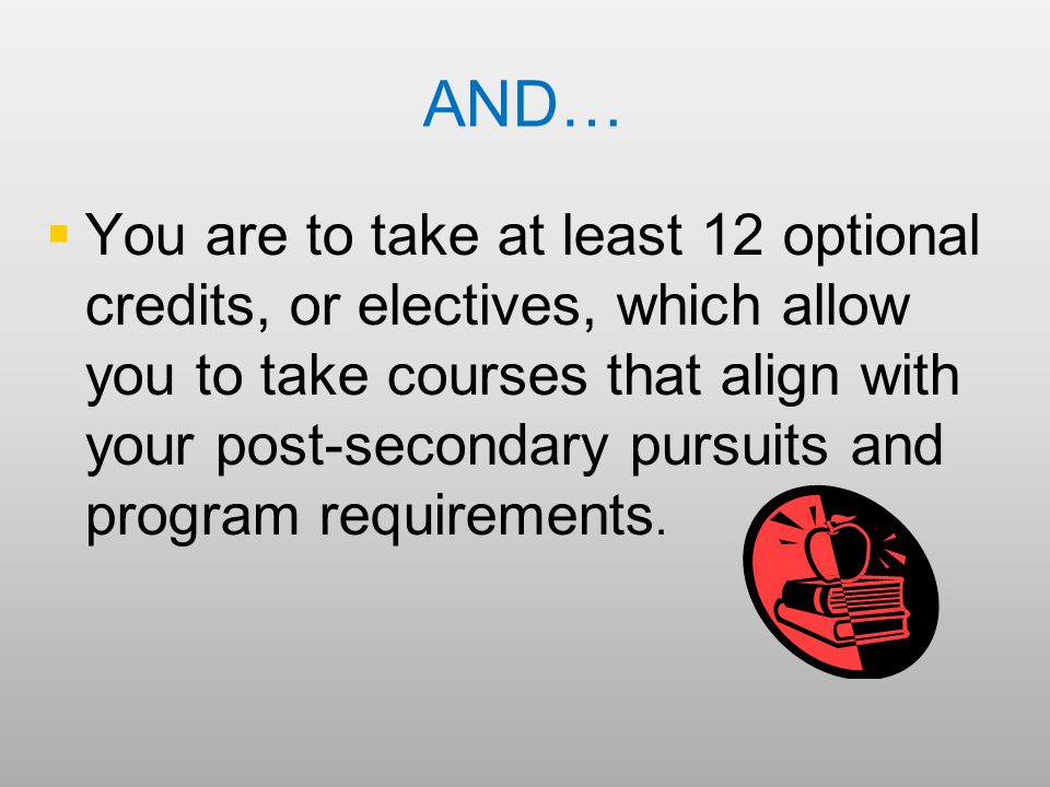 AND…   You are to take at least 12 optional credits, or electives, which allow you to take courses that align with your post-secondary pursuits and program requirements.