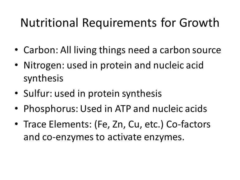 Nutritional Requirements for Growth Carbon: All living things need a carbon source Nitrogen: used in protein and nucleic acid synthesis Sulfur: used in protein synthesis Phosphorus: Used in ATP and nucleic acids Trace Elements: (Fe, Zn, Cu, etc.) Co-factors and co-enzymes to activate enzymes.