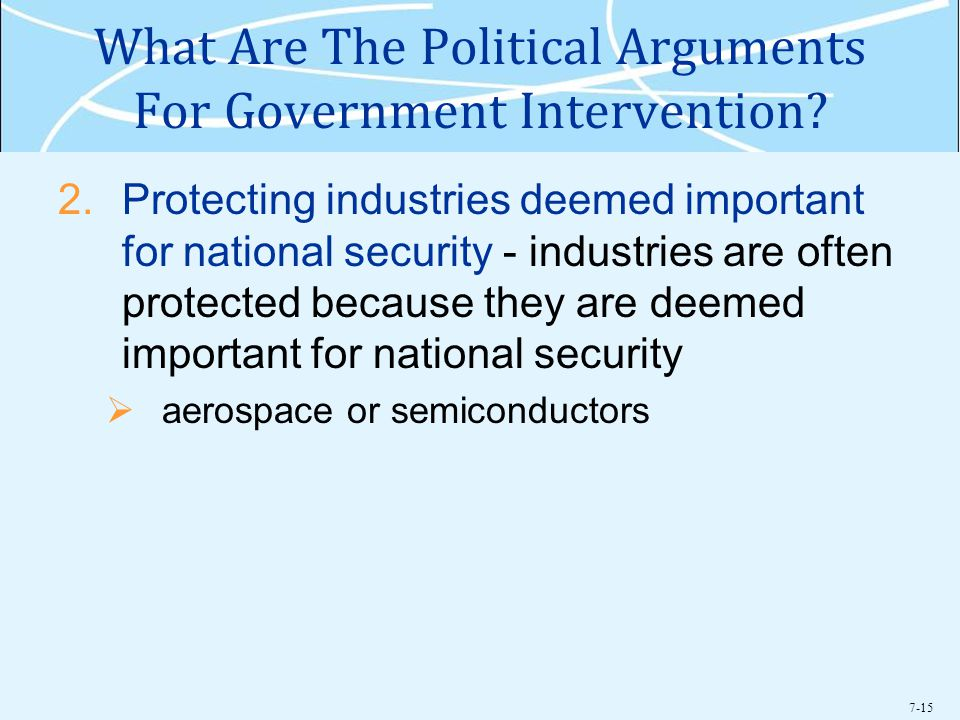 7-15 What Are The Political Arguments For Government Intervention.