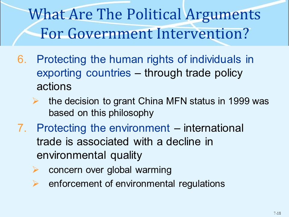 7-18 What Are The Political Arguments For Government Intervention.