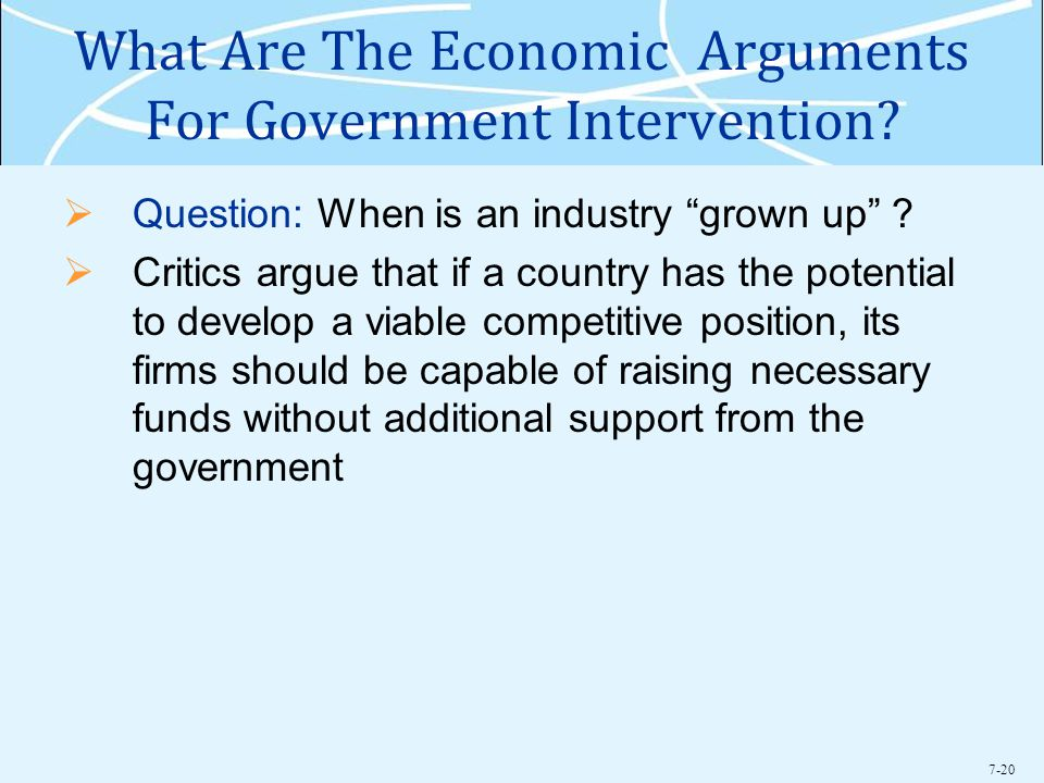 7-20 What Are The Economic Arguments For Government Intervention.
