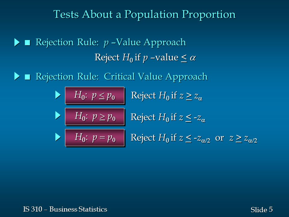 5 5 Slide IS 310 – Business Statistics n Rejection Rule: p –Value Approach H 0 : p  p  Reject H 0 if z > z  Reject H 0 if z < - z  Reject H 0 if z z  H 0 : p  p  H 0 : p  p  Tests About a Population Proportion Reject H 0 if p –value <  n Rejection Rule: Critical Value Approach