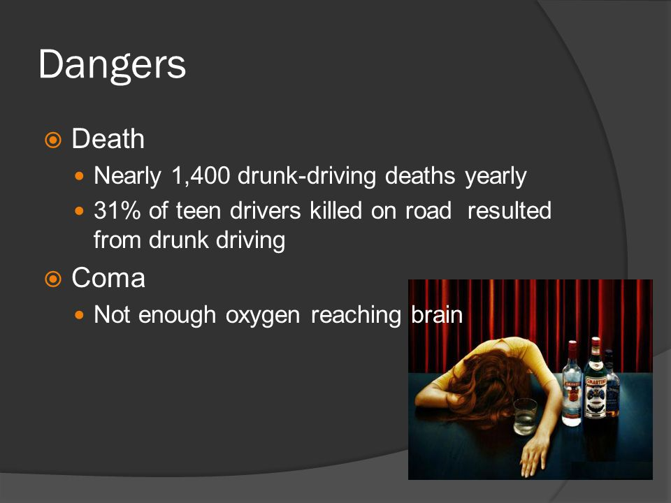 Dangers  Death Nearly 1,400 drunk-driving deaths yearly 31% of teen drivers killed on road resulted from drunk driving  Coma Not enough oxygen reaching brain