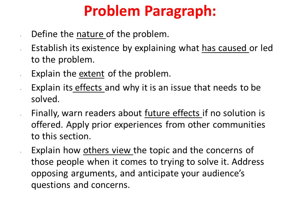 The Problem Solution Essay Introductory Paragraph  Choose Any   Problem Paragraph Define The