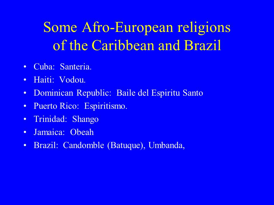 Afro-Caribbean Religions Gerald F  Murray Department of