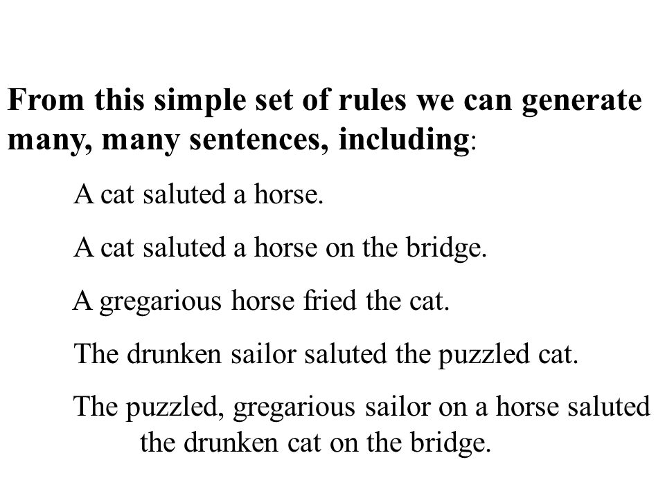 From this simple set of rules we can generate many, many sentences, including : A cat saluted a horse.