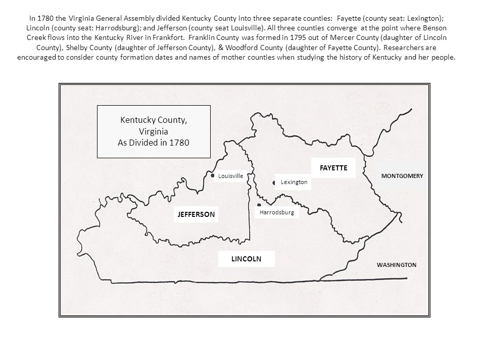 In 1785 residents of the Kentucky District petitioned