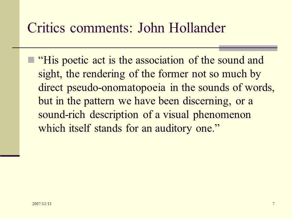 by the sound john hollander