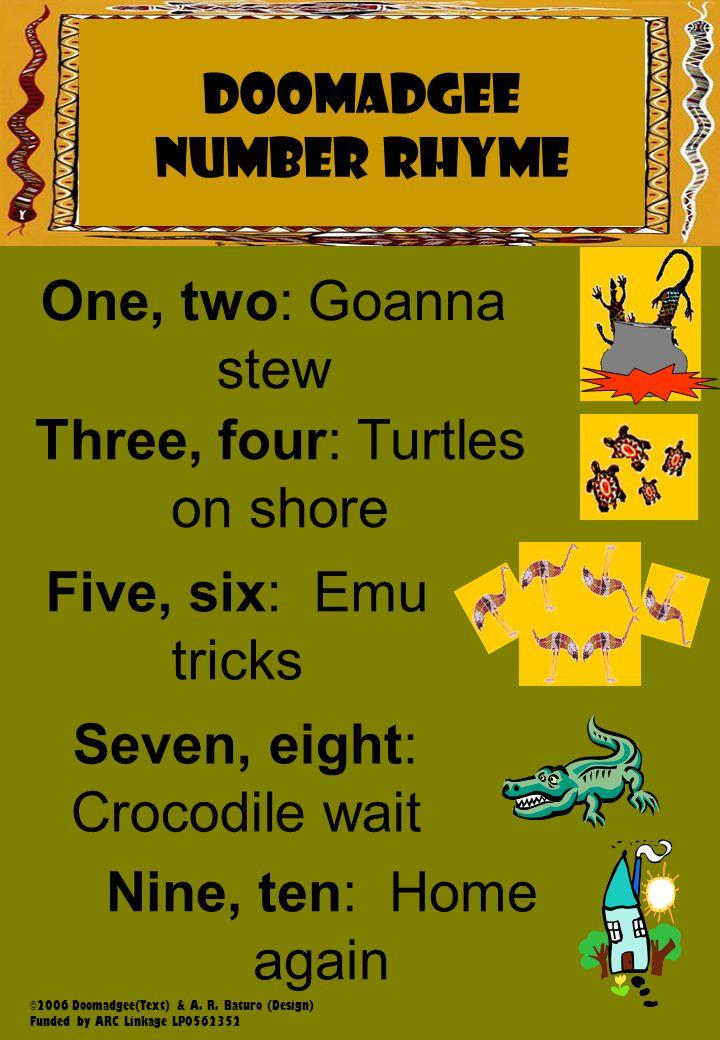 Napranum NUMBER RHYME DOOMADGEE NUMBER RHYME One, two