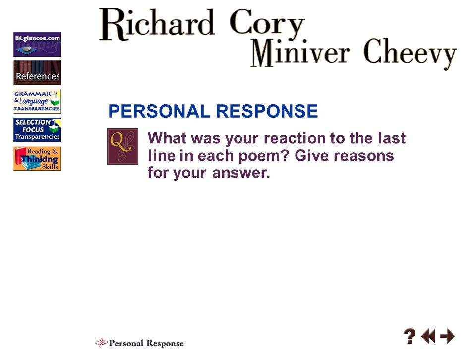 Responding 4 Contents Personal Response Analyzing Literature Click a hyperlink to go to the corresponding content area.