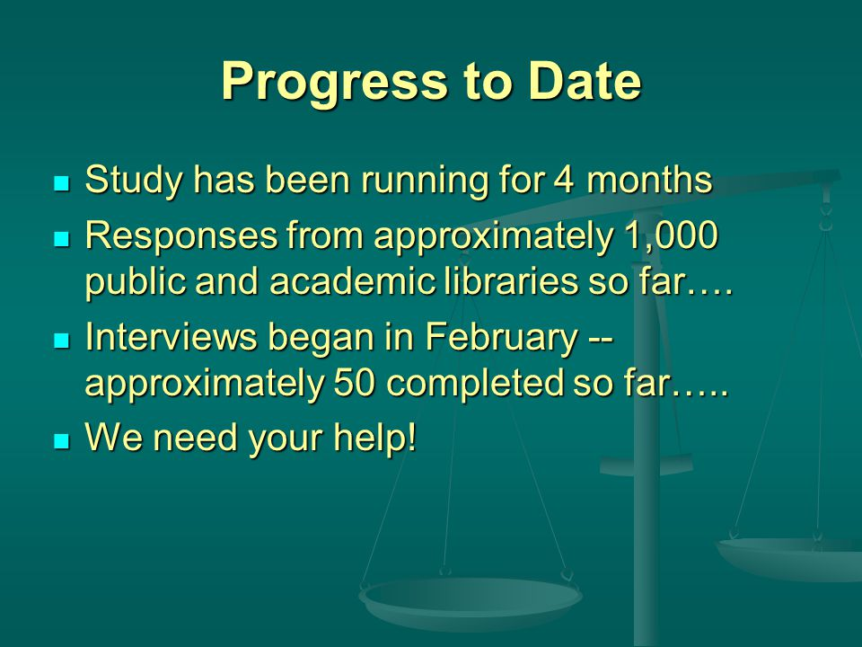 Progress to Date Study has been running for 4 months Study has been running for 4 months Responses from approximately 1,000 public and academic libraries so far….