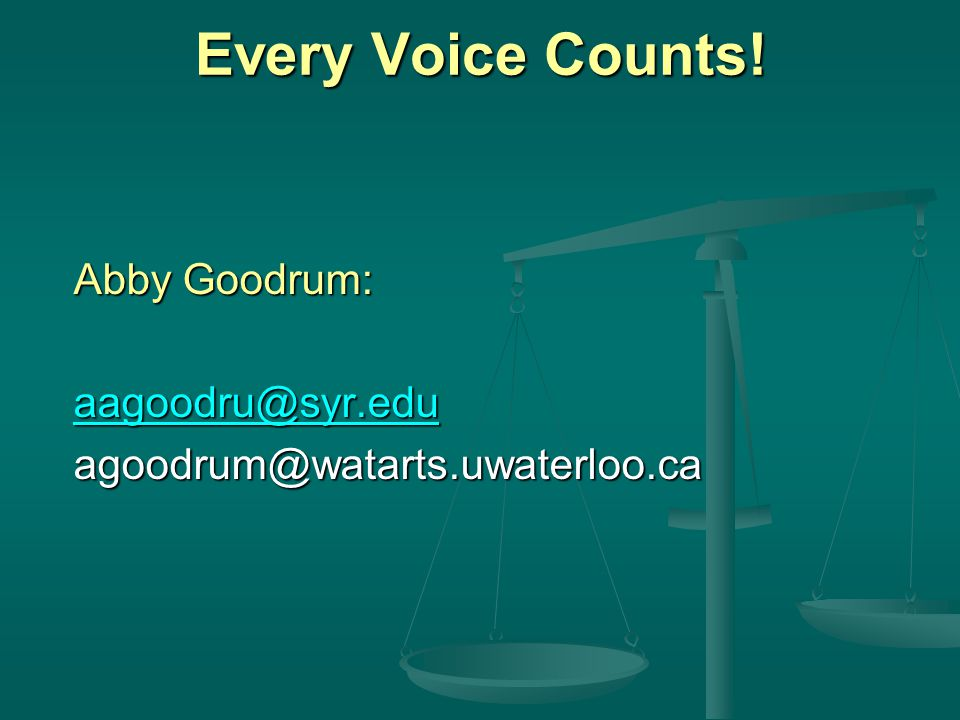 Every Voice Counts! Abby Goodrum: