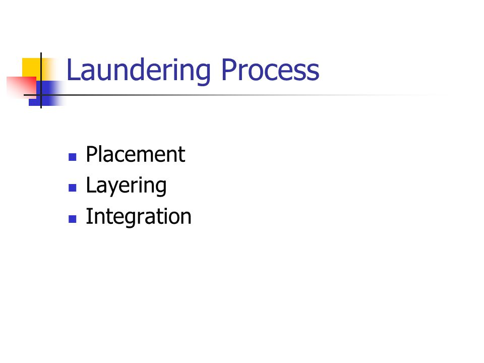 Laundering Process Placement Layering Integration