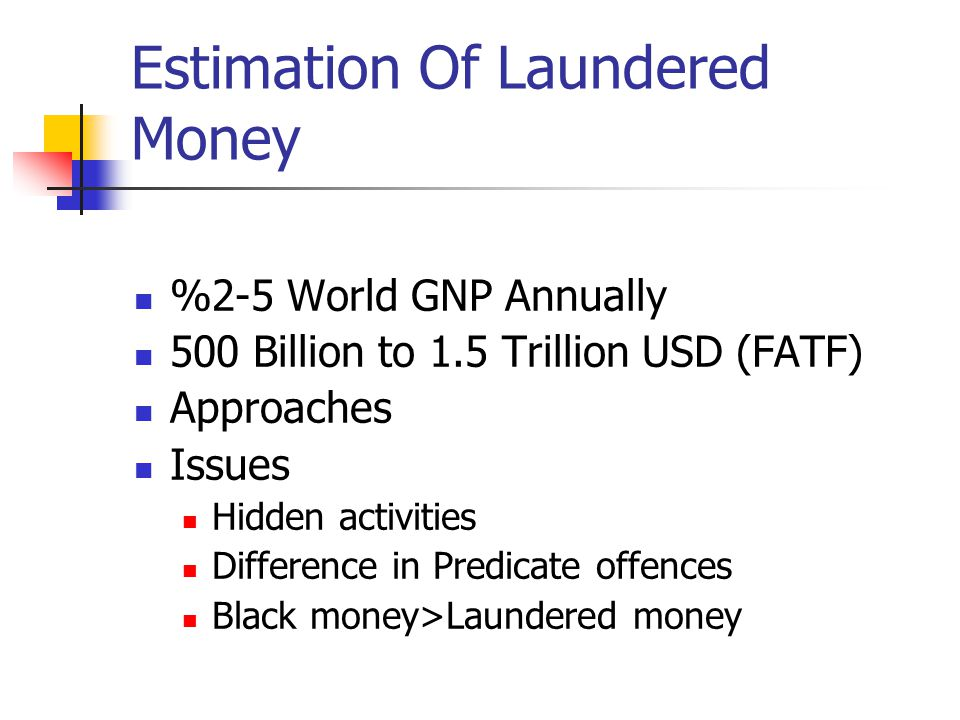 Estimation Of Laundered Money %2-5 World GNP Annually 500 Billion to 1.5 Trillion USD (FATF) Approaches Issues Hidden activities Difference in Predicate offences Black money>Laundered money