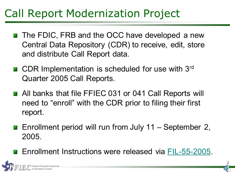 July 11 September Ffiec Central Data Repository Bank Enrollment