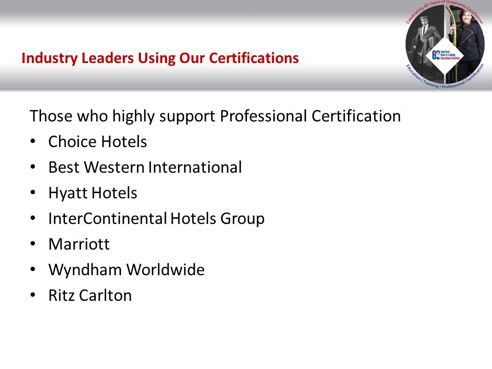 Hospitality Professional Certification American Hotel Lodging