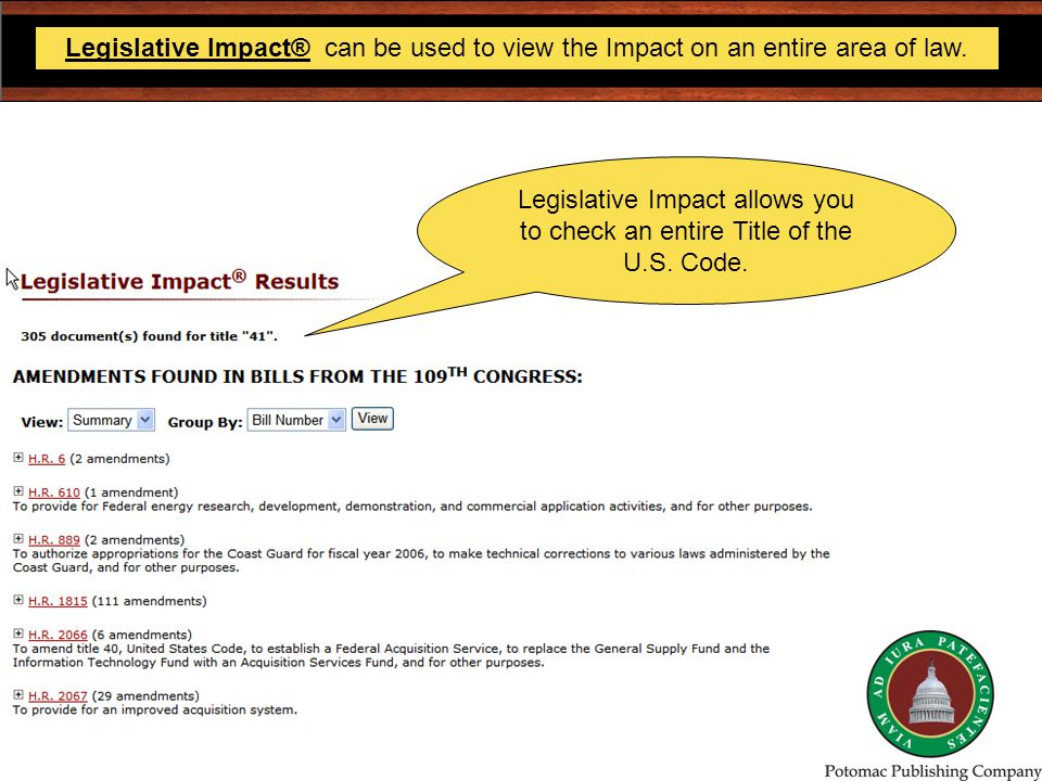 Legislative Impact® can be used to view the Impact on an entire area of law.