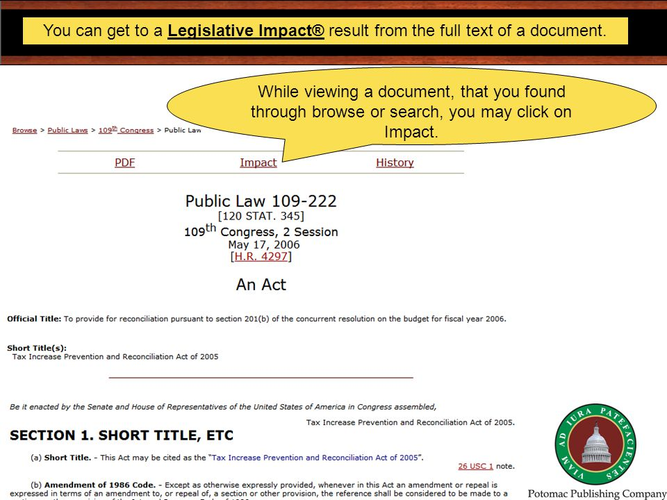 You can get to a Legislative Impact® result from the full text of a document.