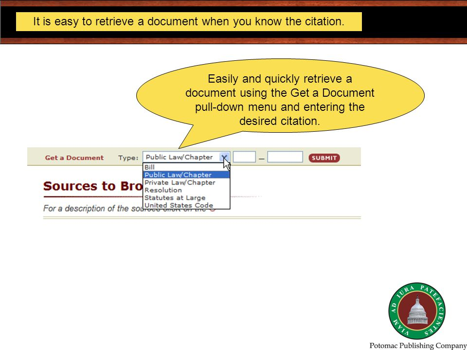It is easy to retrieve a document when you know the citation.